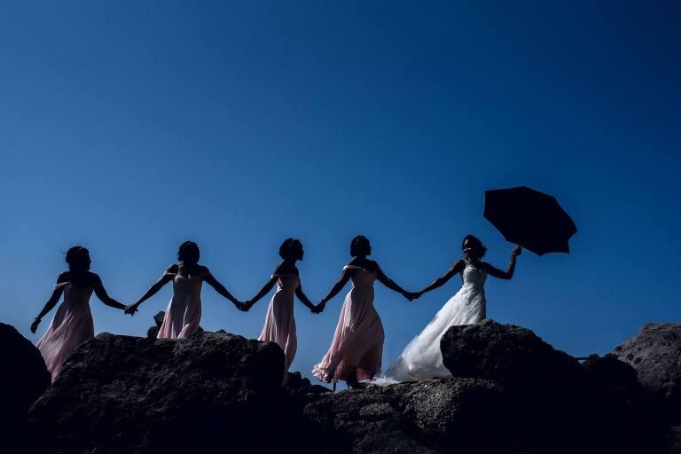 groepsfoto bruidsmeisjes